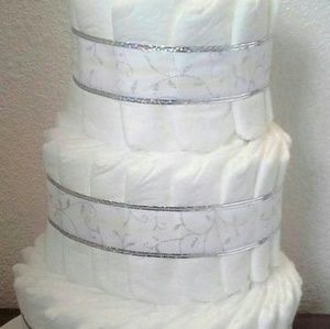 Other - White and Silver Baby Shower 3 Tier Diaper Cake